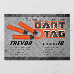 Boys Dart Tag Birthday Party Invitation