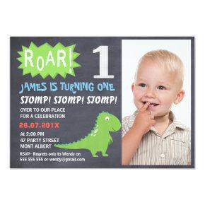 Boys Dinosaur Chalkboard Photo Birthday Invitations