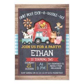 Boys farm Animals Chalkboard Birthday Invitation