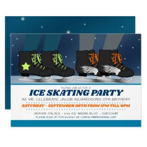Boys Ice Skating Party Birthday Invitations