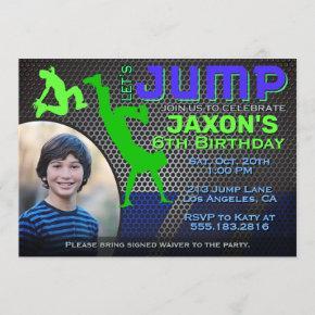 Boy's Jump Photo Birthday Party Invitation