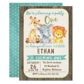 Boys Jungle Animals 1st Birthday Invitation