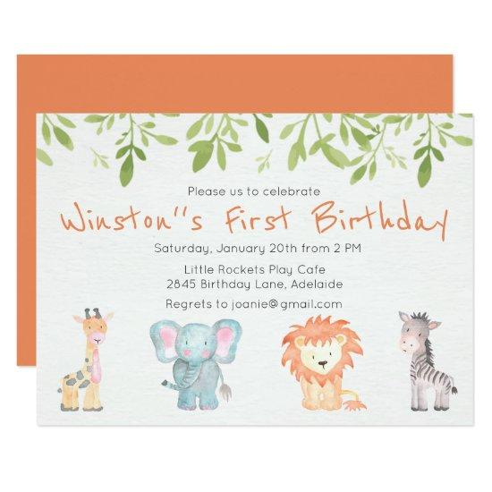 Boy S Jungle Themed Birthday Invitation Candied Clouds