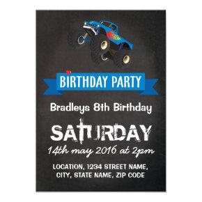Boys Kids Racing Monster Truck Birthday Party Invitation