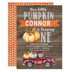 Boy's Little Pumpkin 1st Birthday Invitation