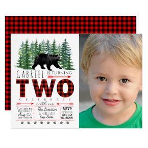 Boys Lumberjack Bear Photo 2nd Birthday Invitation