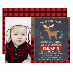 Boys Lumberjack Deer Photo Birthday Invitations