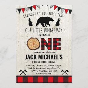 Boys Lumberjack First Birthday Invitation