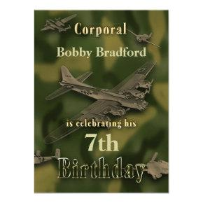 Boys Military Birthday Invitation - Camo