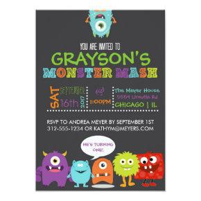 Boys Monster Mash Birthday Party Invitations