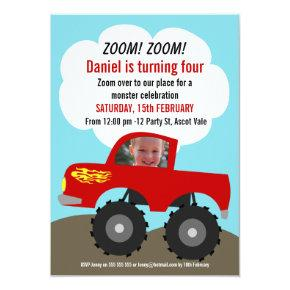 Boys Monster Truck Photo Birthday Invitations