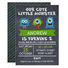 Boys Monsters Chalkboard 2nd Birthday Invitations