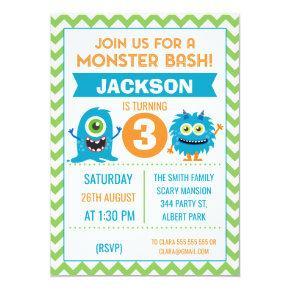 Boys Monsters Chevron Birthday Invitations