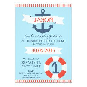 Boys Nautical 1st Birthday Invitation