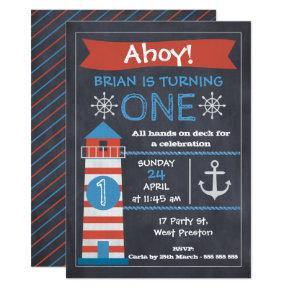 Boys Nautical Lighthouse Birthday Party Invitations
