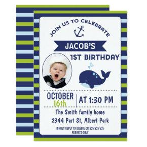 Boys Nautical Whale 1st Birthday Party Invitation