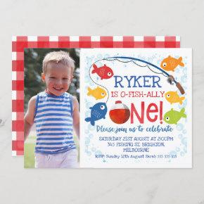 Boys O-fish-ally one birthday invitation