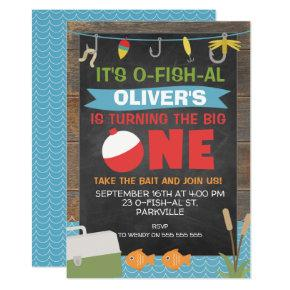 Boys Ofishal Fishing 1st birthday Invitation