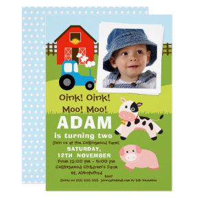 Boys Photo Farmyard Birthday Invitation