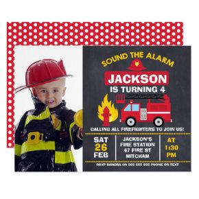 Boys Photo Fire Engine Birthday Invitations