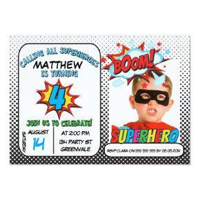 Boys Photo Superhero 4th Birthday Invitation