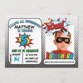 Boys Photo Superhero 5th Birthday Invitation