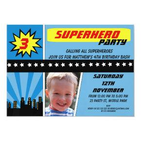 Boys Photo Superhero Birthday Invitations