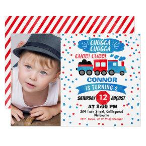 Boys Photo Watercolor Train Birthday Invitation