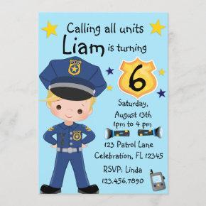 Boys Police Officer Birthday Invitation