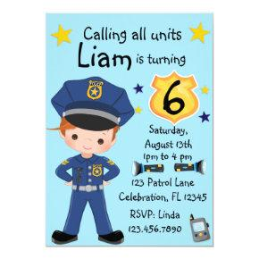 Boys Police Officer Birthday Invitation