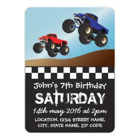 Boys Racing Monster Trucks Personalized Birthday Invitations