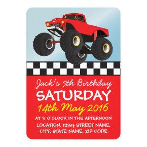 Boys Red Monster Truck Personalized Birthday Invitations