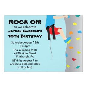 Boy's Rock Wall Climbing Birthday Party Invitation