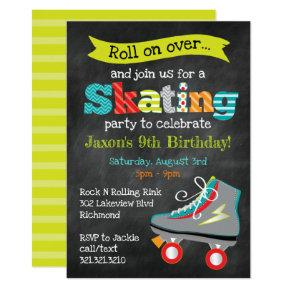 Boys Roller Skating Birthday Party - Chalkboard Invitation