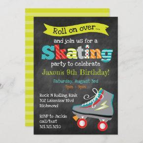 Boys Roller Skating Birthday Party - Chalkboard Invitation