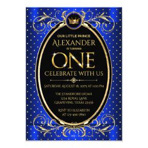 Boys Royal Blue Gold Prince 1st Birthday Party Invitation
