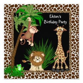 Boys Safari Birthday Party Invitations