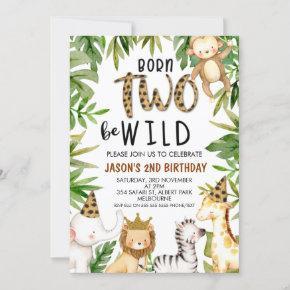 Boys Safari Two Wild Birthday Invitation
