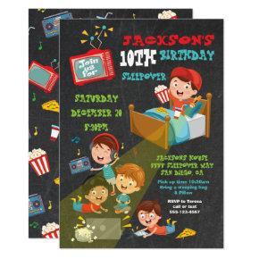 Boys Sleepover Slumber birthday party Invitation