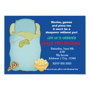 Boys Sleepover Slumber Party Birthday Invitations