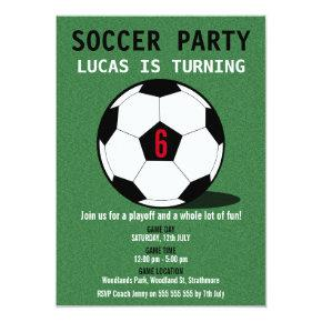 Boy's Soccer Ball Birthday Party Invitations