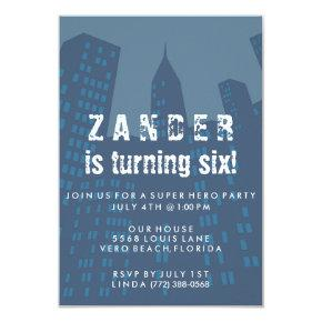 Boys Super Hero City Birthday Party Invitation