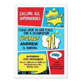 Boys Superhero 1st Birthday Invitations
