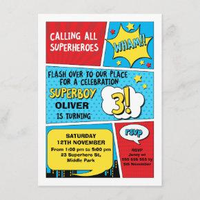 Boys Superhero 3rd Birthday Invitation