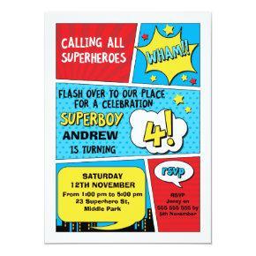 Boys Superhero 4th Birthday Invitation
