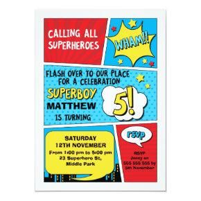 Boys Superhero 5th Birthday Invitations