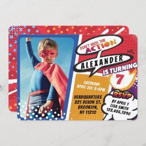 Boy's Superhero Comic Photo Birthday Invitation