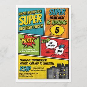 Boy's Superhero Invitation Party Blue Red Comic