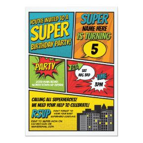Boy's Superhero Invitation Party Blue Red Comic
