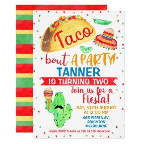 Boys Taco bout a party birthday invitation